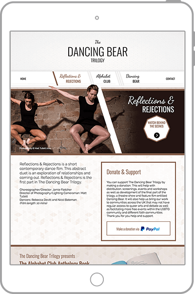 Dancing Bear Trilogy website on tablet