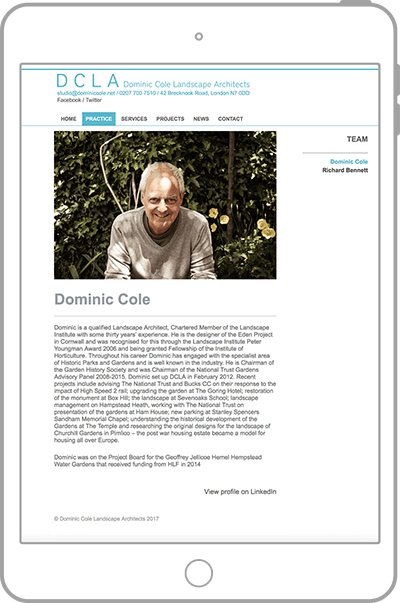 Dominic Cole website on tablet