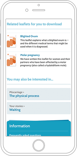 Miscarriage Association website on mobile