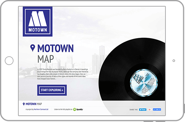 Motown Map website on tablet